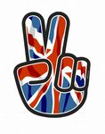 Hippy Style PEACE Hand With Union Jack British Flag Motif External Vinyl Car Sticker 90x65mm